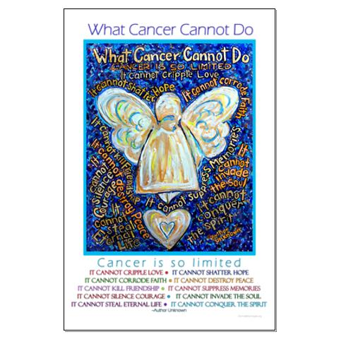 Blue amp gold what cancer cannot do poem angel large poster