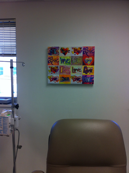 Donated XOXO Love paintings wrapped canvas to Vita Hematology Oncology
