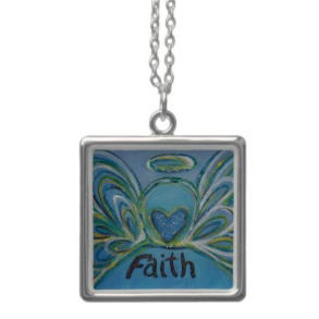 Faith Angel Silver Necklace Square