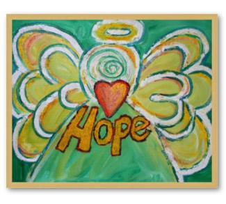Angel Hope Art Framed Poster Print Gold