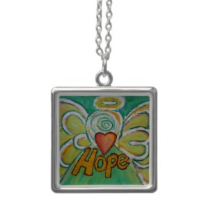 Hope Angel Silver Necklace Square
