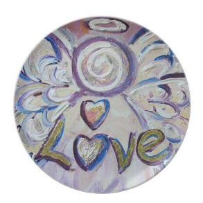 Angel Word Love Inspirational Art Painting Plates
