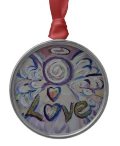 Love Angel Ornament Silver Round