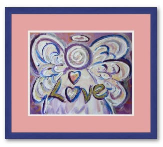 Love Angel Art Framed Poster Print Blue