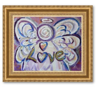 Love Angel Art Framed Print Gold