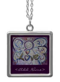 Personalized Love Angel Silver Necklace with Customized Name