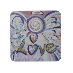 Love Angel Word Cork Coasters corkcoaster