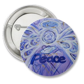 Peace Angel Art Button Pin Pendant (Round)
