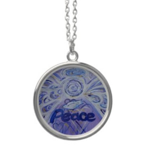 Peace Angel Silver Necklace Round