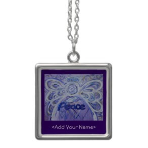 Peace Angel Art Silver Necklace with Customized Name