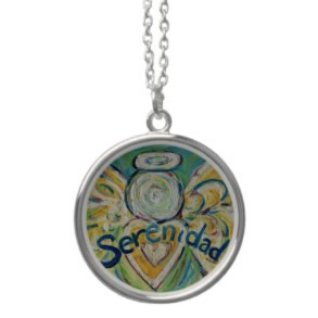 Serenidad Angel Silver Necklace Round