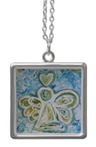 Golden Blue Angel Silver Necklace (Square)
