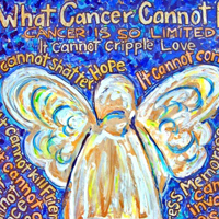 Blue and Gold Cancer Angel Painting