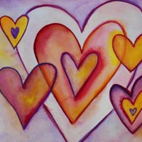 Interlocking Love Hearts Watercolor Art Painting