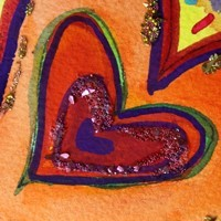 Happy Heart Watercolor Glitter Painting