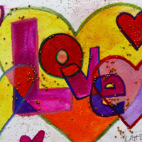 Love Word Patchwork Hearts Glitter Painting