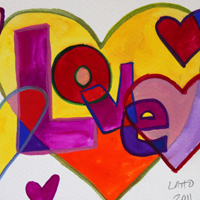 Love Patchwork Hearts Watercolor Painting
