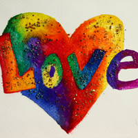 Love Rainbow Heart Glitter Painting