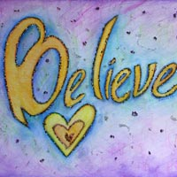 Believe Inspirational Word Art Painting