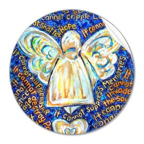 What Cancer Cannot Do Blue & Gold Angel Round Sticker