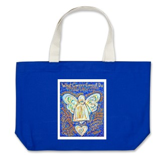 Blue and Gold What Cancer Cannot Do Angel Tote Bag
