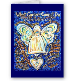 What Cancer Cannot Do Blue and Gold Angel Greeting or Note Cards