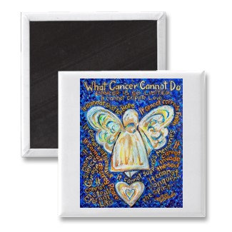 What Cancer Cannot Do Magnet with Blue and Gold Angel
