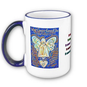 What Cancer Cannot Do Mug with Blue and Gold Cancer Angel
