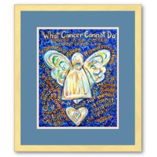 Blue and Gold Cancer Angel Framed Poster Art Print