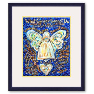 What Cancer Cannot Do Blue and Gold Angel Framed Art Print