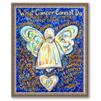 Blue and Gold Cancer Angel Framed Poster Print