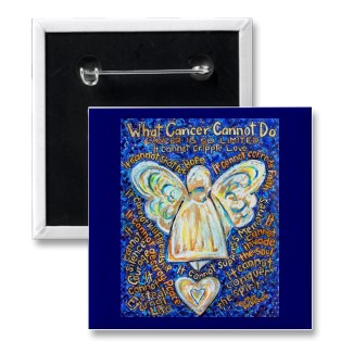 What Cancer Cannot Do Blue and Gold Angel Button