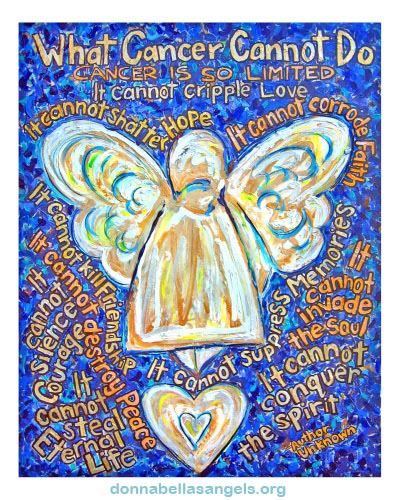 Blue and Gold Cancer Angel