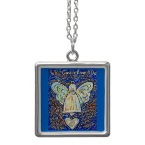 Blue and Gold Cancer Cannot Do Angel Necklace Pendant Jewelry