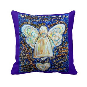 Blue and Gold Cancer Angel Decorative Throw Pillow throwpillow