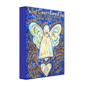 Blue and Gold What Cancer Cannot Do Angel Painting Wrapped Canvas Art Print