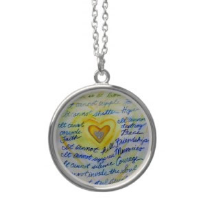 Blue and Gold Angel Heart Silver Necklace (Round)