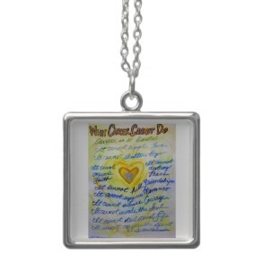 Blue and Gold Angel Heart Silver Necklace (Square)