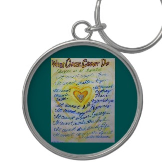 Blue and Gold Cancer Cannot Heart Keychain Round
