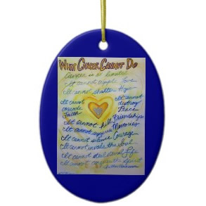 Blue and Gold Angel Heart Ornament