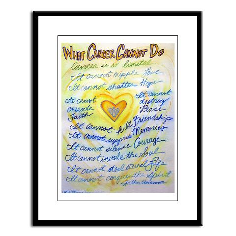 Blue and Gold What Cancer Cannot Do Framed Art Print
