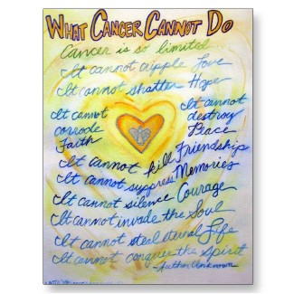 Blue and Gold What Cancer Cannot Do Postcards postcard