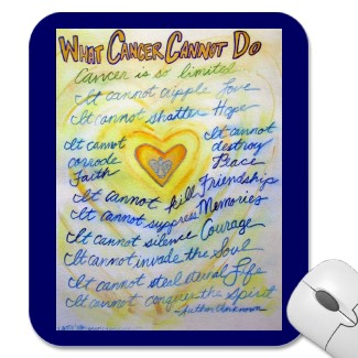 What Cancer Cannot Do Blue & Gold Text Mousepad mousepad
