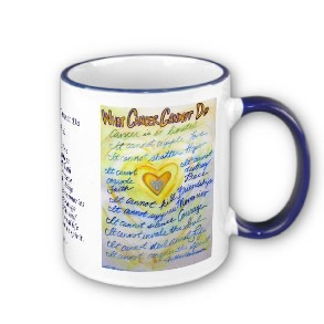 What Cancer Cannot Do Blue & Gold Text Mug or Cup mug