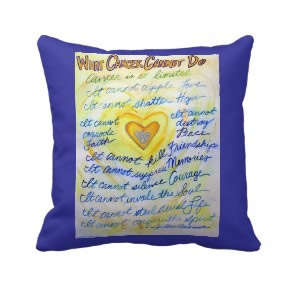 What Cancer Cannot Do Blue & Gold Throw Pillow throwpillow