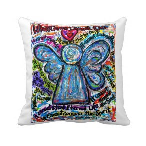 Colorful Cancer Angel Decorative Throw Pillow throwpillow