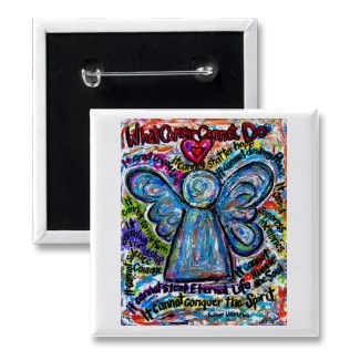 Colorful Cancer Angel Painting Art Button or Pin Square