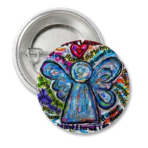 Colorful Cancer Angel Painting Art Button or Pin Round