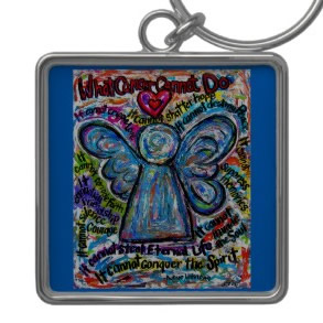 Colorful Cancer Angel Keychain (Square)