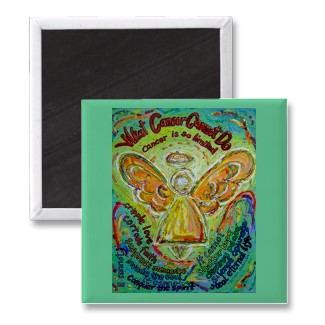 Rainbow Angel What Cancer Cannot Do Magnet Square
